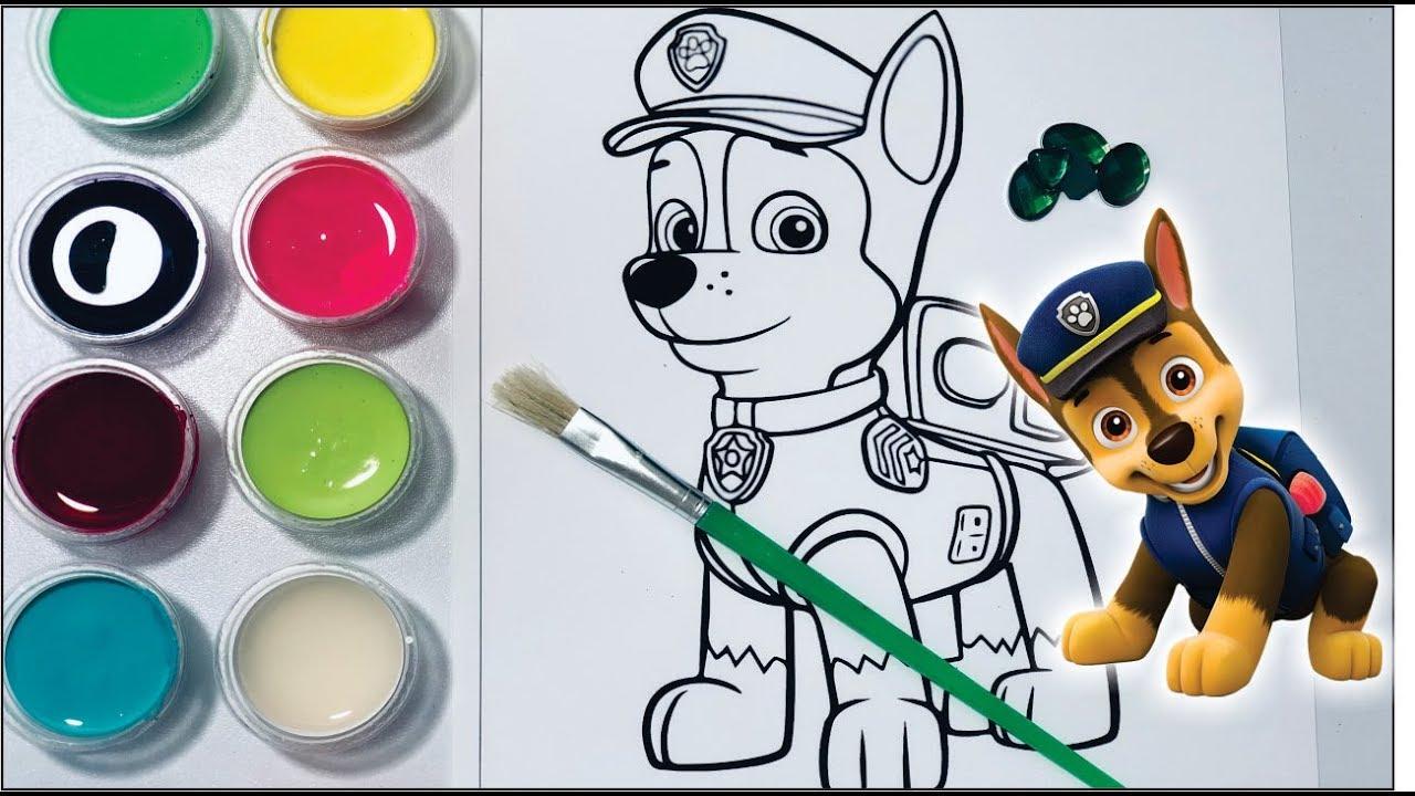 Pintando Paw Patrol Chase Marshall Dibujos Para Niños Pintura Colorear Niños Canciones Infantiles
