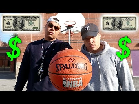 CRAZY BASKETBALL TRICK SHOTS CHALLENGE!! *LOSER PAYS $100*