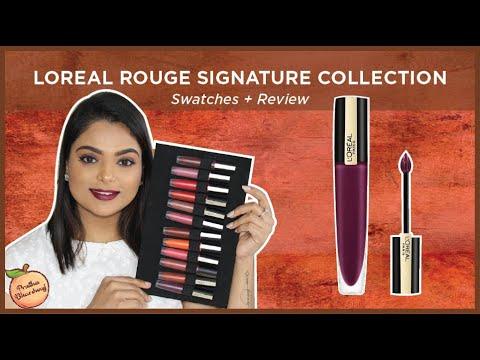 loreal-rouge-signature-matte-liquid-lipstick-||-review-&-swatches