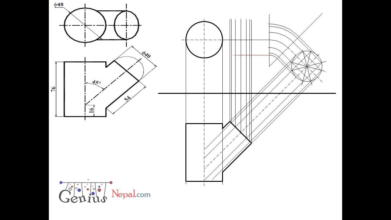 Engineering Drawing Tutorials/Intersection of solids with front view ...