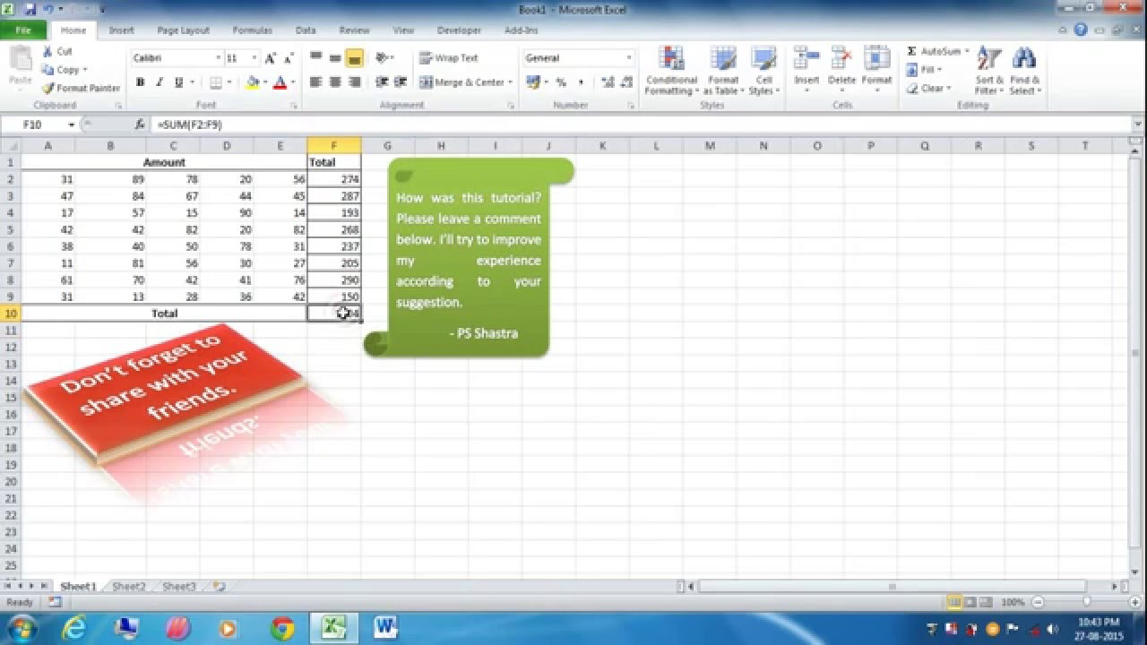 How To Disable Autosum In Excel 2010
