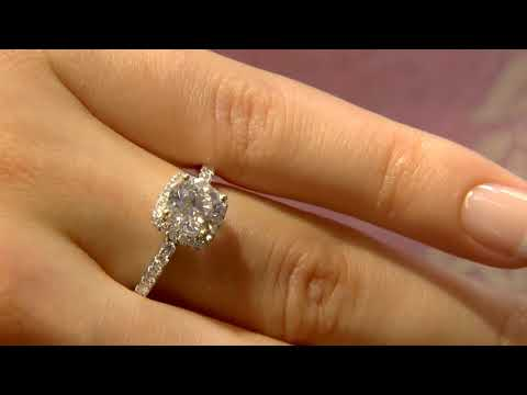 VR1067 1.35ct Cushion Halo Diamond Engagement Ring