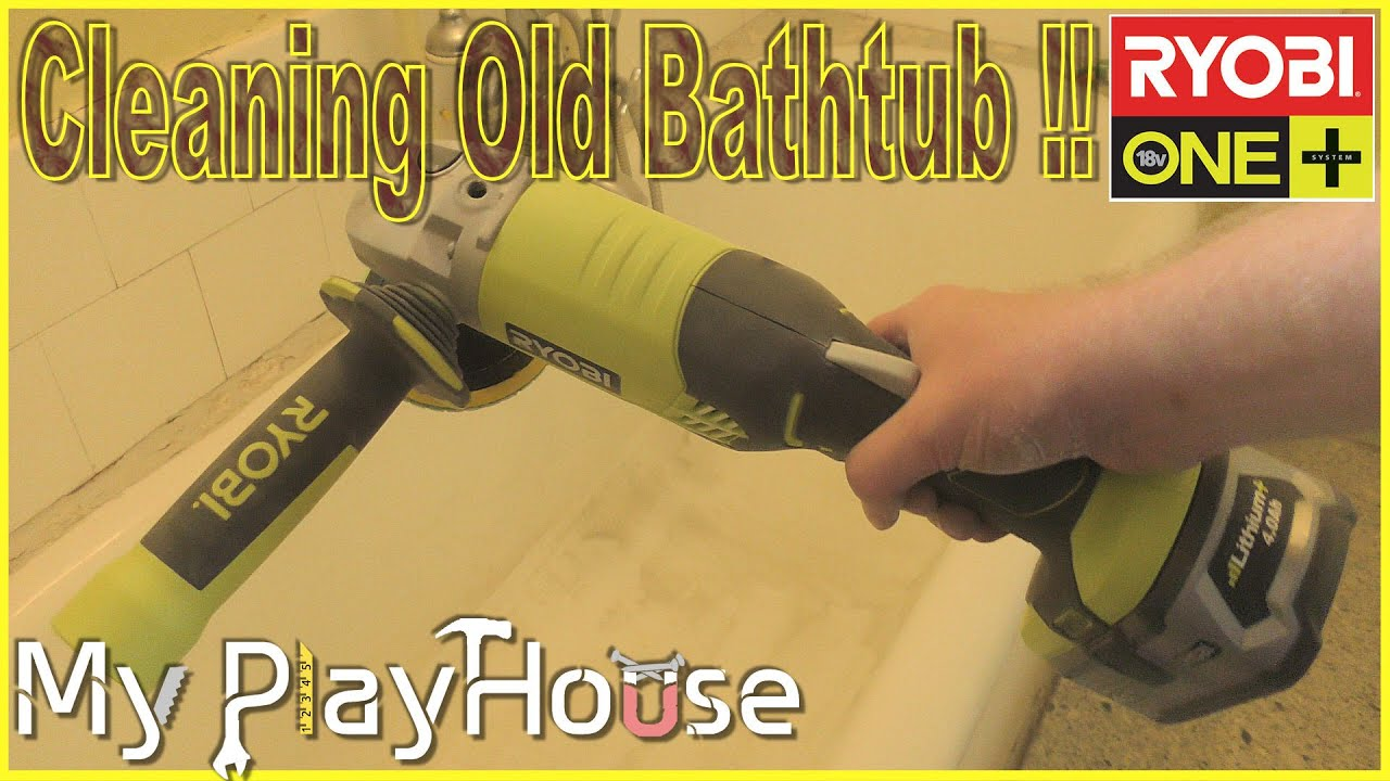 How to Clean Old Bathtub with an Angle Grinder - 401 - YouTube