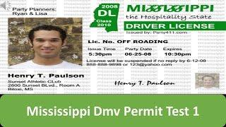Mississippi DMV Permit Test 1