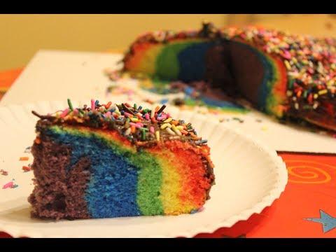 Como hacer un Pastel de Colores o Arcoiris