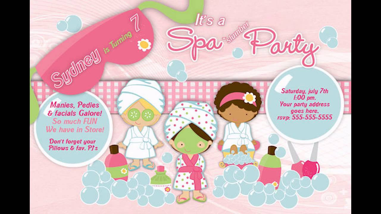 at home Spa birthday Party invitations YouTube