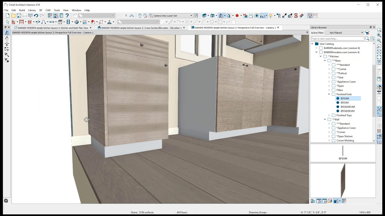 Chief Architect Simple Kitchen Layout With Cabinets From Barkermodern Com Youtube