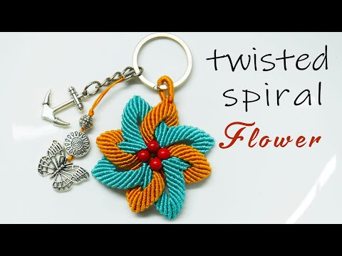 Macrame Keychain Tutorial - The Twisted Spiral Flower - Simple And Easy But Never Old Pattern