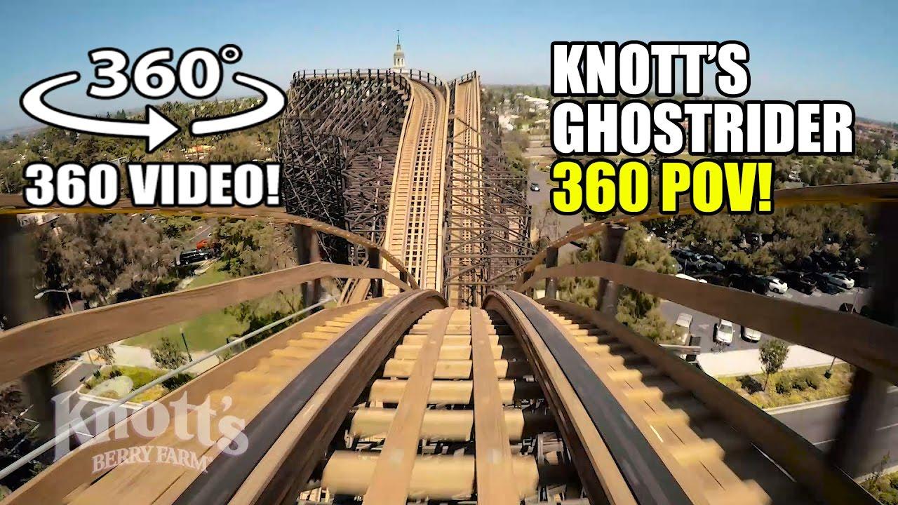 Ghostrider Roller Coaster 360 VR POV Knotts Berry Farm California - Giroptic 360 Camera