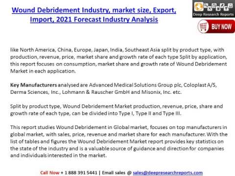 Global Wound Debridement Market Outlook, Demand Supply and 2021 Forecast