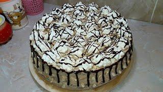 Шоколадный бисквитный торт с  очень вкусным кремом Шарлотт! Chocolate cake!