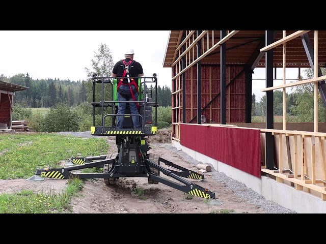 Operating the Leguan 190 spider lift on sloped ground