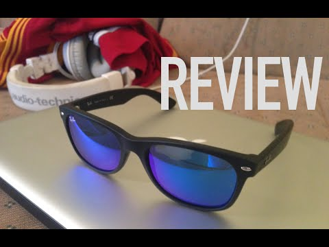 Review of Ray Ban New Wayfarer Sunglasses in Matte Black with Flash Blue Lens