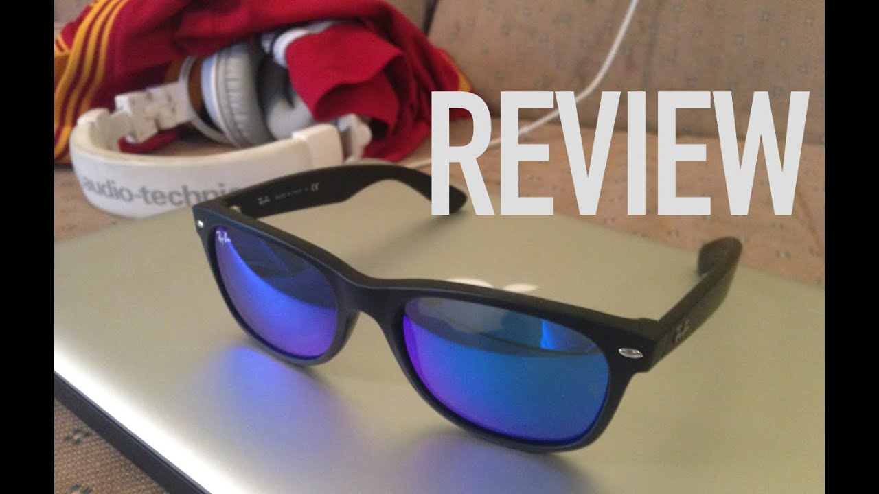Review of Ray Ban New Wayfarer Sunglasses in Matte Black with Flash Blue  Lens ee8f0812b2ca