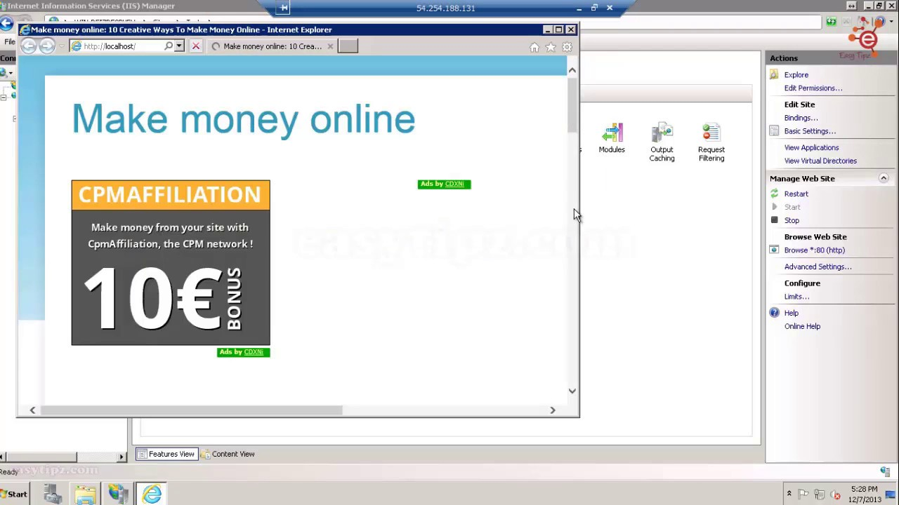 How to install IIS Web Server on Windows Server 2008 R2 SP1