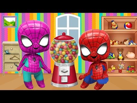 Spidergirl & Spiderman Crybaby Bubble Gum Gumball Machine Superhero Frozen New Episodes