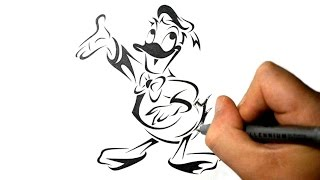 How to Draw Donald Duck - Tribal Tattoo Design Style