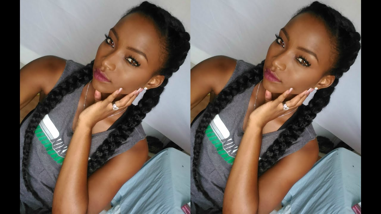 Two African French Braids With Weave