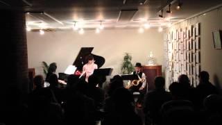 2014.2.15 ライブ演奏 trio ''SALUNO'' sax 納富麦 flute 谷藤歌織 pian...