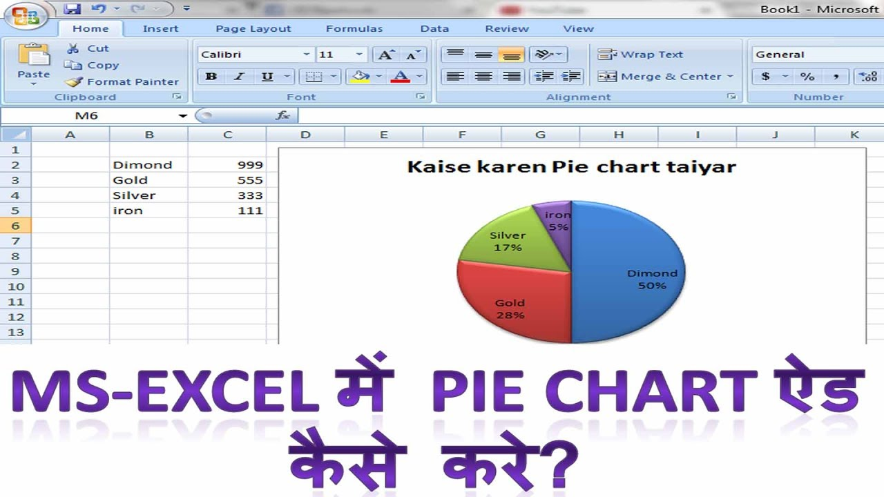How to make  pie chart in ms excel hindi microsoft me insert kaise kare also rh youtube