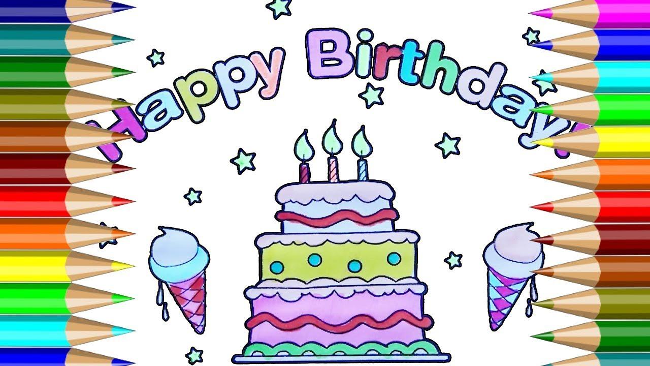 Feliz cumpleaños para colorear | Cómo dibujar pasteles de cumpleaños ...