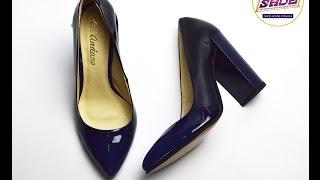 Туфли лодочки синие амбрэ женские кожаные лаковые Ari Andano на толстом устойчивом каблуке