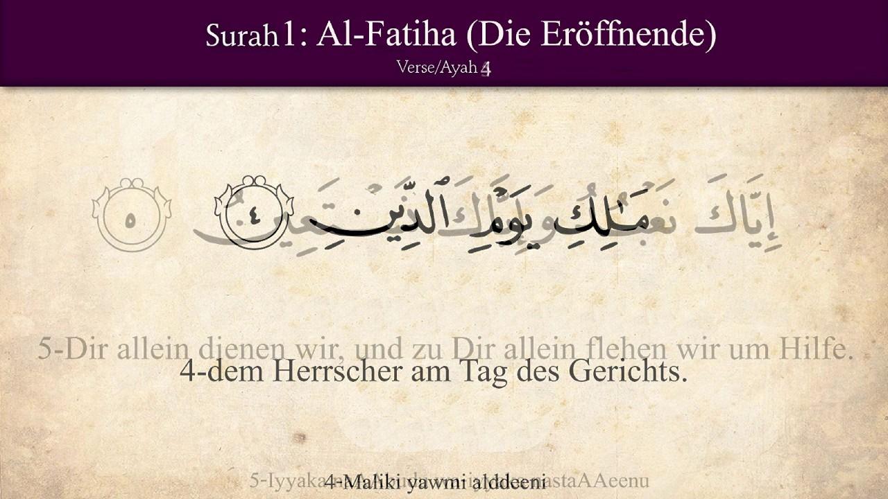 sure 1 al fatiha die er ffnende koran der heilige quran arabisch deutsch h ren youtube. Black Bedroom Furniture Sets. Home Design Ideas