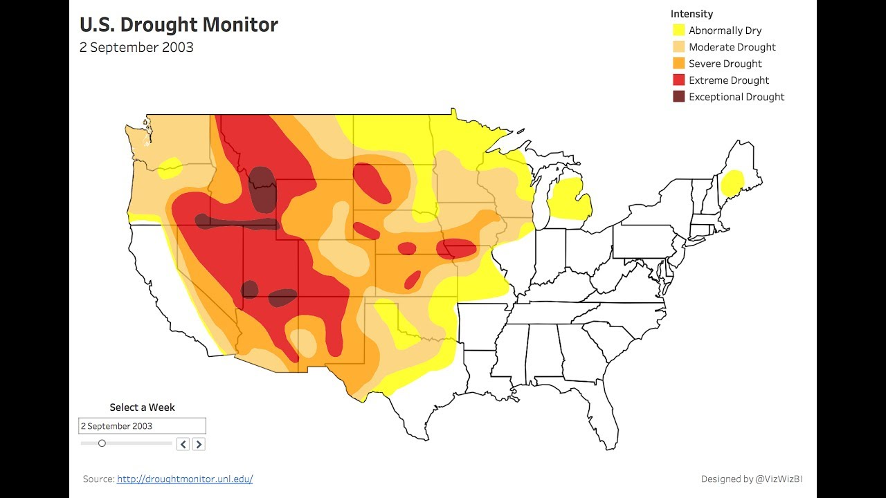 Weeks Of The US Drought Monitor Visualized In Tableau YouTube - Us droup map california chage