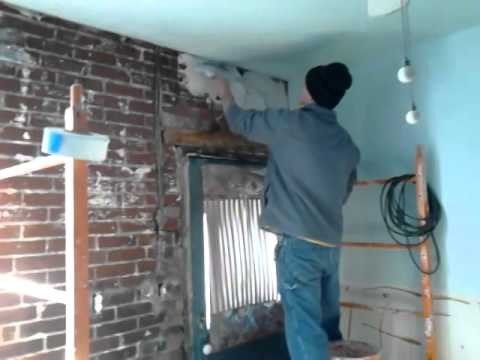 how to plaster a brick wall youtube. Black Bedroom Furniture Sets. Home Design Ideas