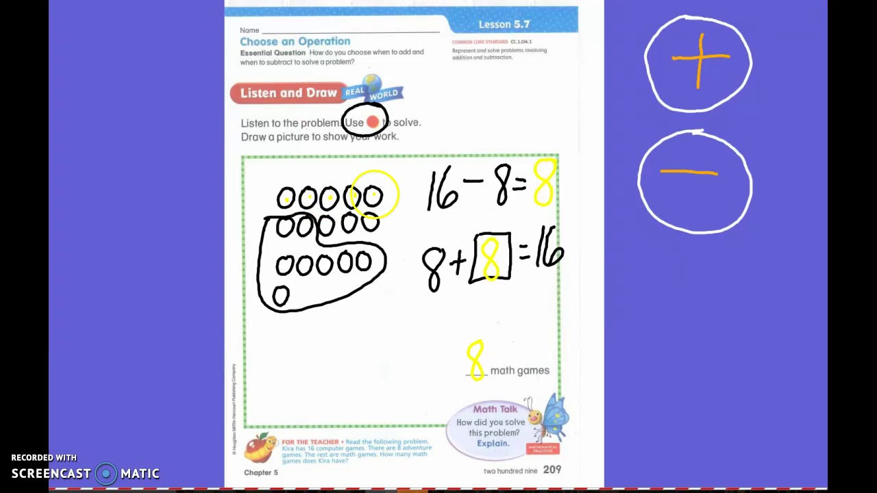 First Grade Math Lesson 5.7 Adding and Subtracting