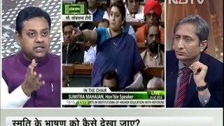 NDTV Ravish Kumar Prime time Intro on Smirti Irani Blatant Lie in Lok sabha
