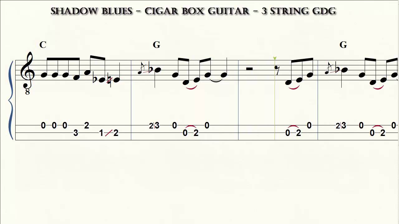 Cigar Box Guitar 3 String Gdg Shadow Blues Brent Robitaille
