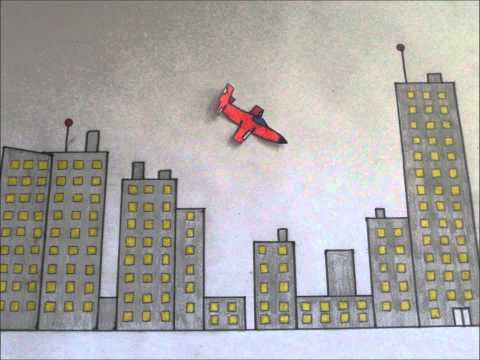 stop motion animation- plane flying over city
