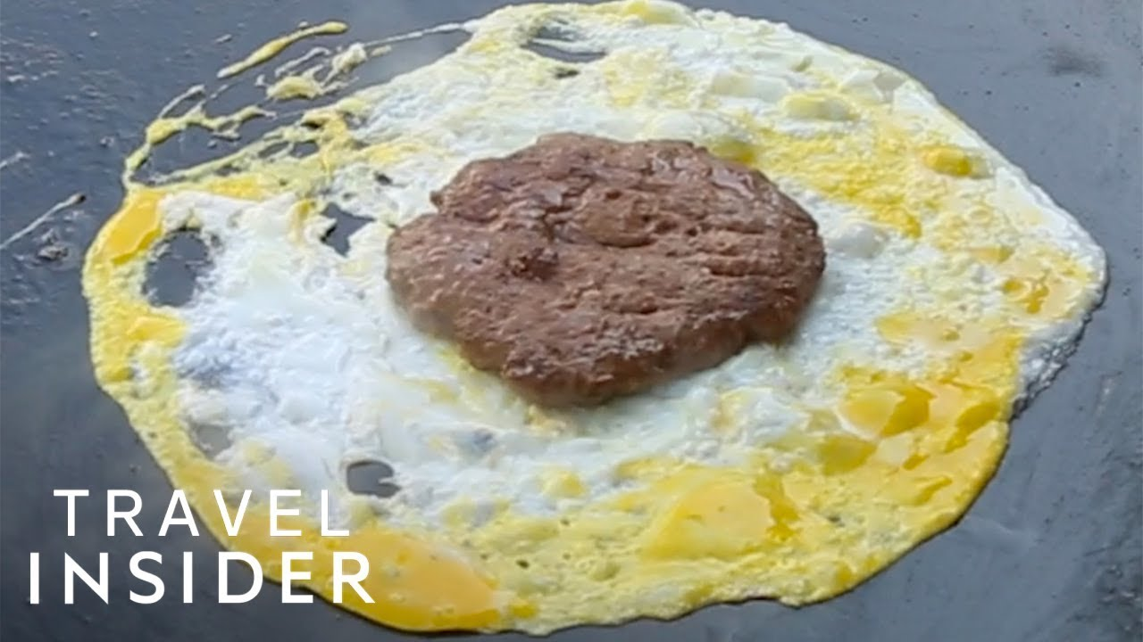 Malaysian-Style Burger Wrapped In A Fried Egg