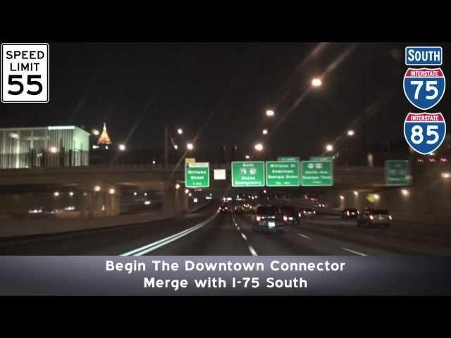 Atlanta GA Freeways: Buckhead to The Airport at Night