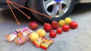 【breaking test】破坏实验:汽车vs水果饼干 Crushing Crunchy  by Carvs apple peach biscuits  Cars and fruits vs Car