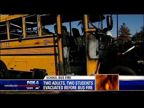 Frisco school bus catches fire