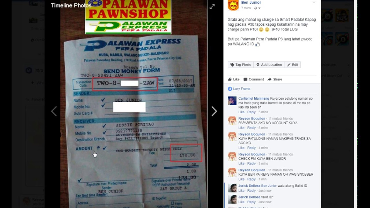 How to Send or Receive Money using Palawan Express Pera Padala NO ID by Ben  Junior