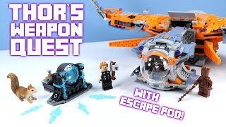 LEGO Avengers Infinity War Thor's Weapon Quest with Guardians Ship Pod!