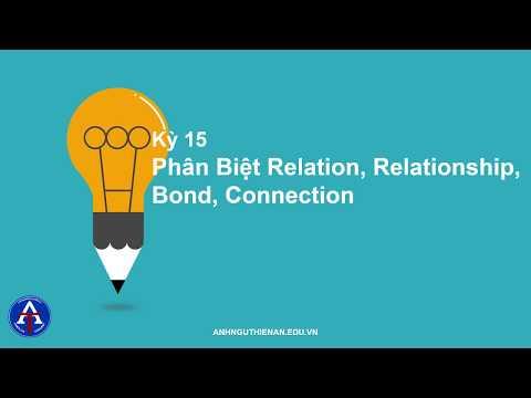 [TIẾNG ANH CÙNG THIÊN ÂN] - Kỳ 15: Phân Biệt Relation, Relationship, Bond, Connection
