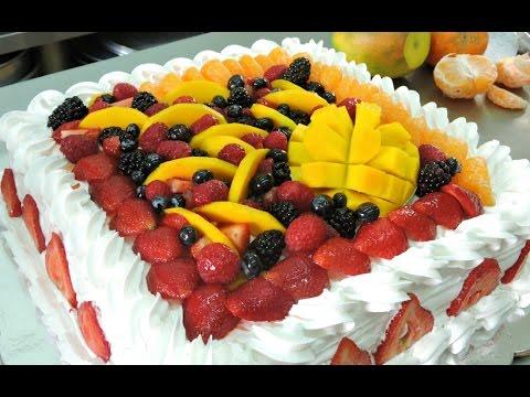 Como Decorar Un Pastel Cuadrado Con Frutas
