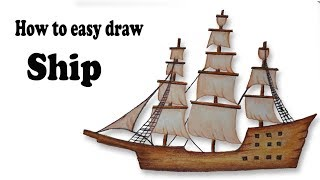 How to draw sailing ship. Step by step(easy draw)
