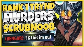 I MADE SCRUBNOOB RAGE-QUIT IN CHALLENGER!!! #1 TRYND WORLD VS. RANK 1 RENGAR - League of Legends
