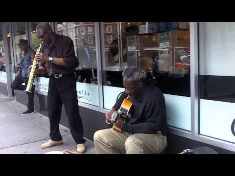 jazz in greenwich village on street, sax and guitar, 6th ave, purple haze, (tequila minsky)