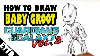 How to Draw Baby Groot - Guardians of the Galaxy Vol.2