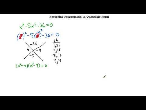 Factoring in Quadratic Form