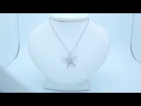 Sterling Silver CZ Starfish 18in Necklace