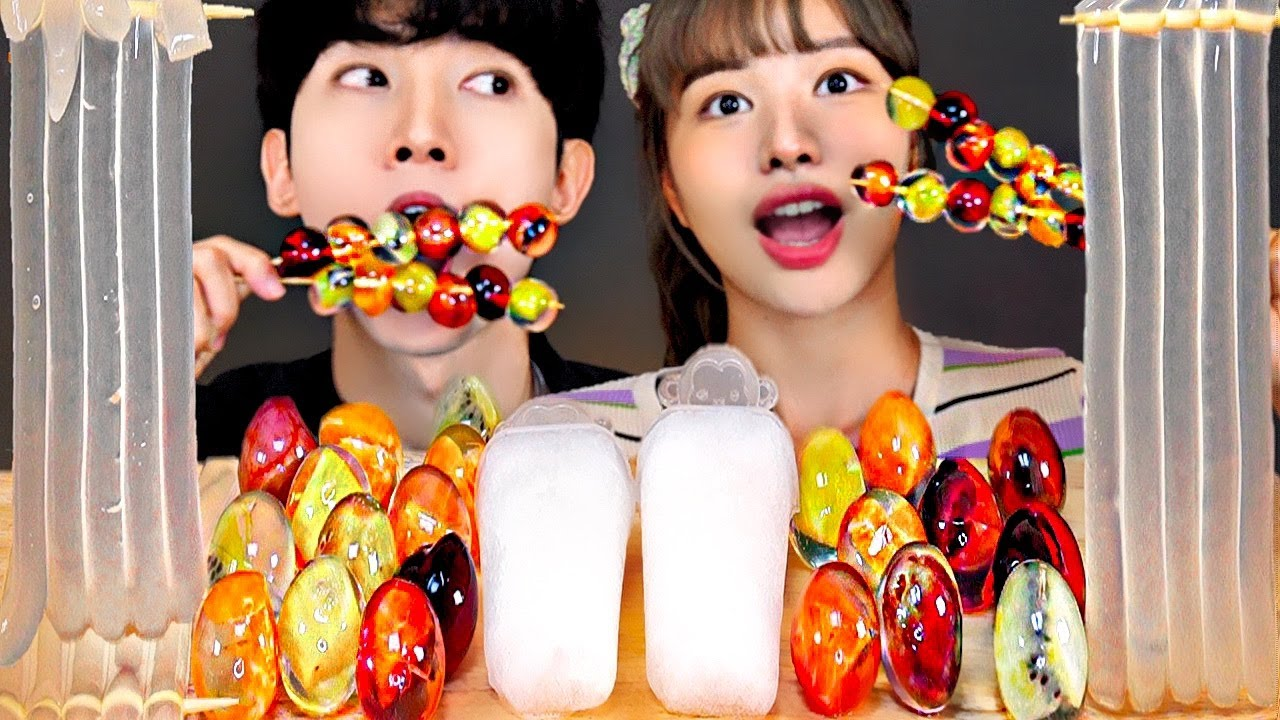 ASMR ICE CREAM CLEAR JELLY PARTY 투명 과일 젤리 아이스크림 먹방 DESSERTS JELLY MUKBANG EATING SOUNDS 咀嚼音 モッパン