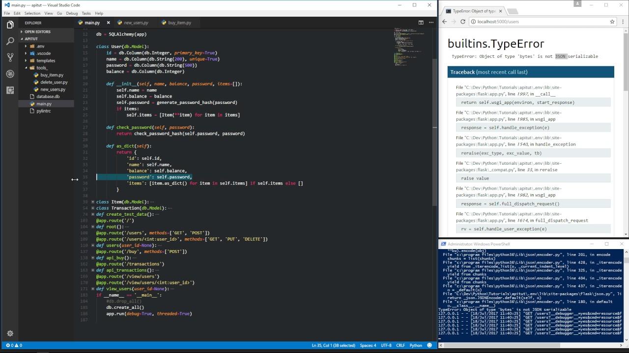 Python Flask REST API osa 8 (bcrypt salasana-hash)