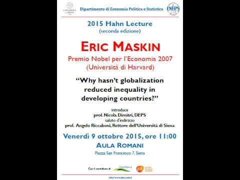 Second Hahn Lecture - Eric Maskin (Università di Harvard)